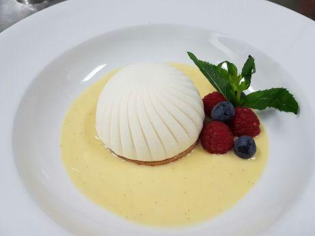 Madagascar vanilla semifreddo, rocher heart, creme anglaise